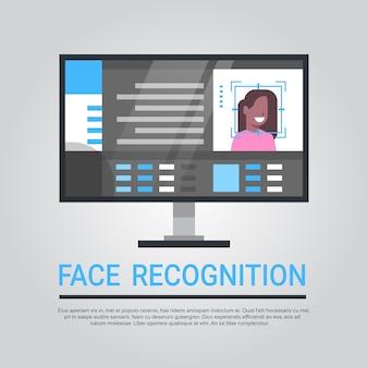 Tecnologia de reconhecimento facial sistema de segurança informática digitalização usuário feminino afro-americano biométrico