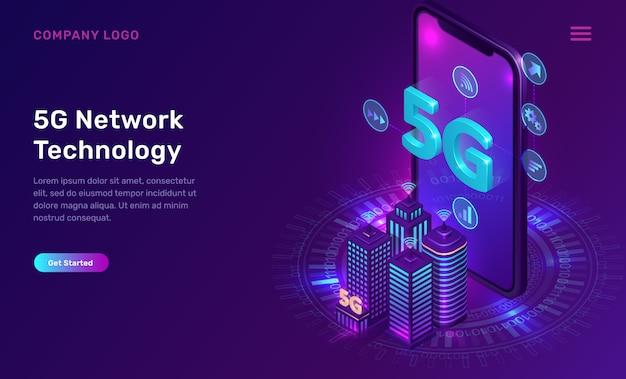 Tecnologia de rede 5g, conceito isométrico