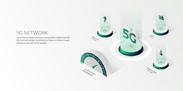 Tecnologia de rede 5g isométrica a internet de alta velocidade