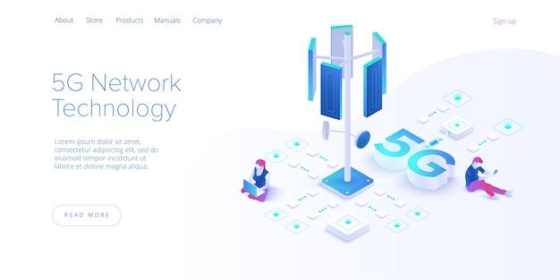 Tecnologia de rede 5g na página de destino isométrica