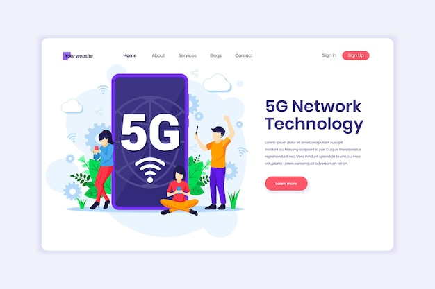 Tecnologia de rede 5g pessoas que usam conexão sem fio de alta velocidade 5g em sua ilustração de telefone celular