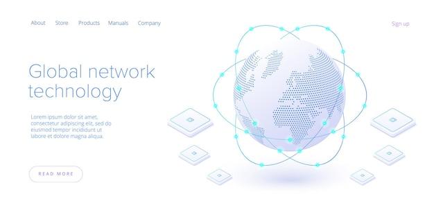 Tecnologia de rede global na página de destino isométrica. conexão de internet mundial ou conceito de comunicação on-line de mídia social. modelo de layout de banner da web.