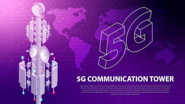 Tecnologia de rede móvel base 5g comunicação antena torre fundo