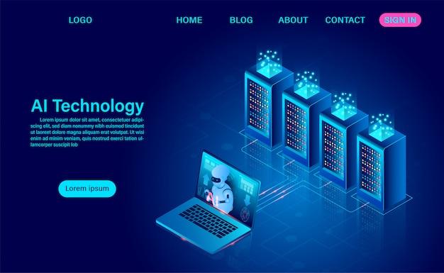 Tecnologia de robô de inteligência artificial. análise de sistema e processamento de big data protegendo o conceito de segurança de dados. escuro isométrico de néon