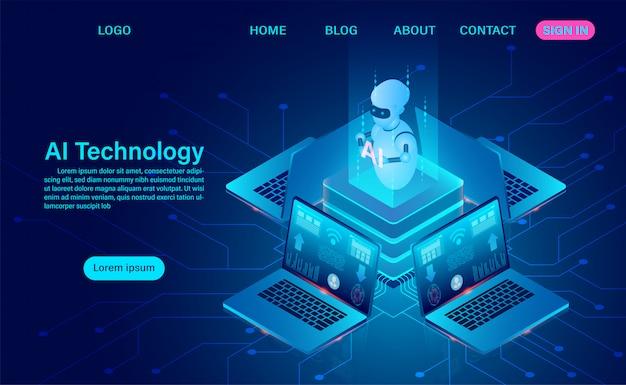 Tecnologia de robô de inteligência artificial. análise de sistema. processamento de big data. escuro isométrico de néon