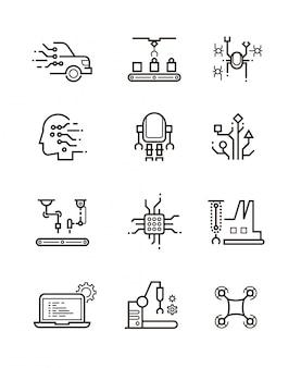 Tecnologia de robô e ícones de linha de máquinas robóticas.
