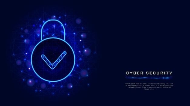 Tecnologia de segurança cibernética e proteção segura de privacidade de dados em nuvem, ícone de cadeado e marca de seleção
