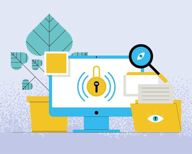 Tecnologia de segurança cibernética em cinco ícones de desktop