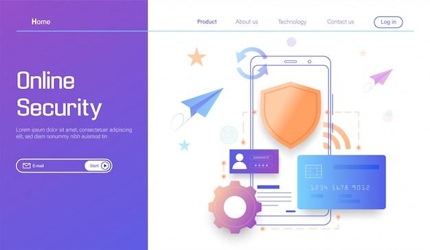 Tecnologia de segurança online, proteção de dados pessoais e transações bancárias seguras