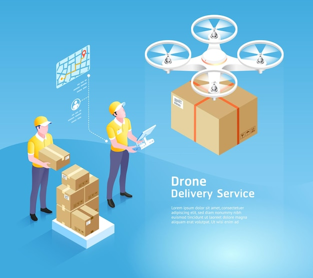 Tecnologia de serviço de entrega de drones com caixa