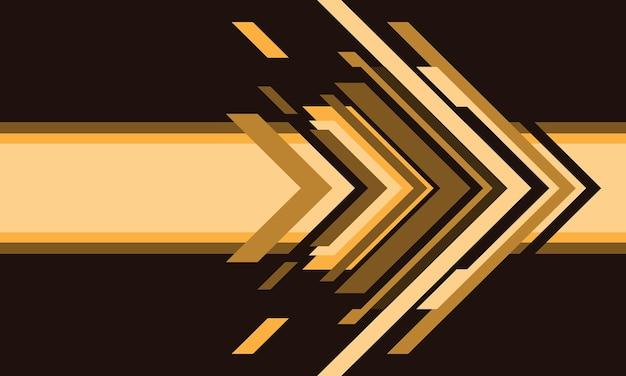 Tecnologia de seta amarela abstrata em ilustração em vetor fundo futurista moderno design marrom.
