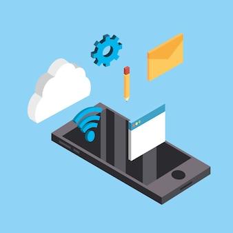 Tecnologia de smartphone com conexão de serviço de dados
