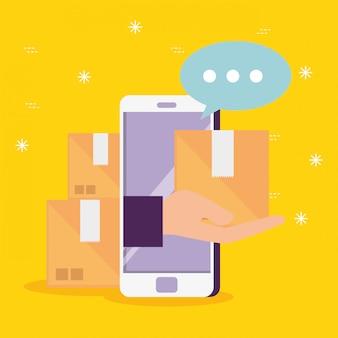 Tecnologia de smartphone com pacotes e bolha de bate-papo