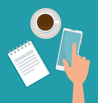 Tecnologia de smartphone com xícara de café e nota