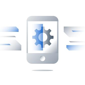 Tecnologia de smartphone, desenvolvimento de aplicativo, instalação de atualização, software do dispositivo, inovação do sistema operacional móvel, serviços de reparo, roda dentada em exibição, programa de digitalização, ícone