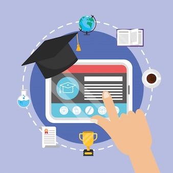 Tecnologia de tablet com certificado e livro de educação