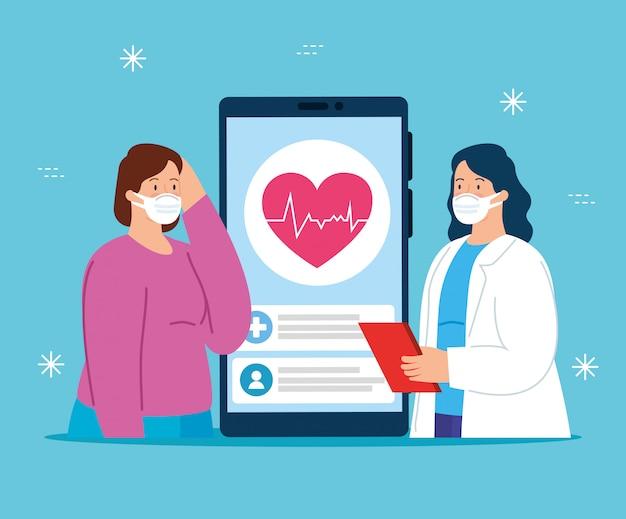 Tecnologia de telemedicina com médico feminino e mulher doente