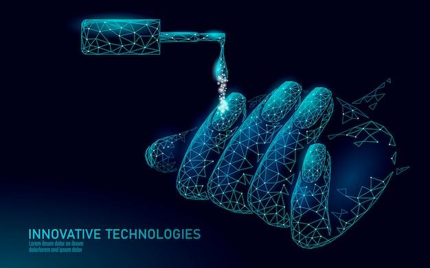 Tecnologia de tratamento de esmaltes modernos de baixo poli. mani inovador de salão de spa