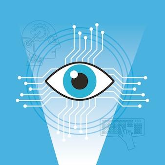 Tecnologia de visão de vigilância inteligência artificial