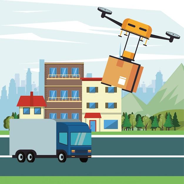 Tecnologia de zangão voando com caixa no projeto de ilustração vetorial cidade