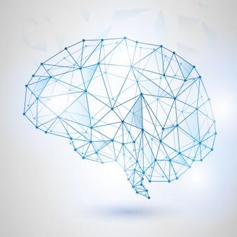 Tecnologia Design Low Poly do Cérebro Humano com Dígitos Binários