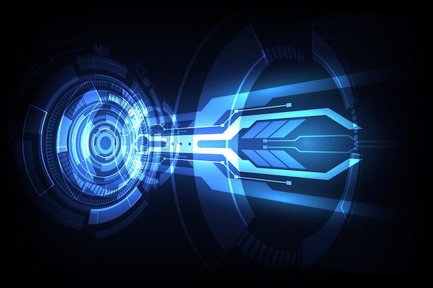 Tecnologia digital alta de conexão azul futurista abstrata