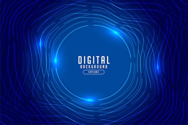 Tecnologia digital azul com luzes brilhantes