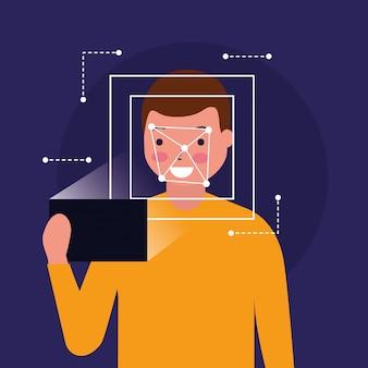 Tecnologia digital biométrica de digitalização de rosto de homem