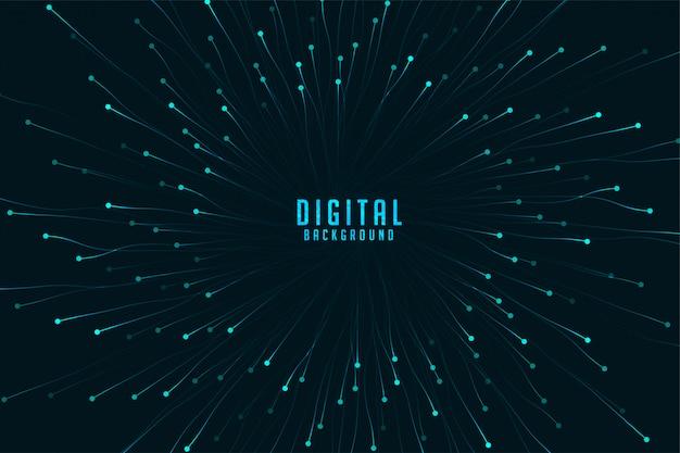 Tecnologia digital com explosão de partículas de zoom