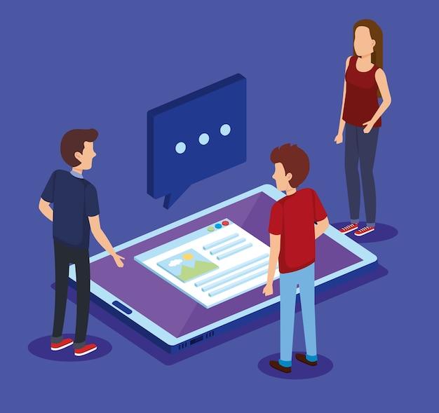 Tecnologia digital com isométricos de trabalho em equipe