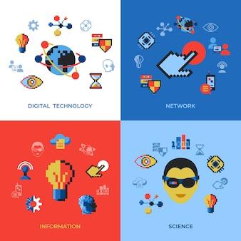 Tecnologia digital de pixel art e conjunto de ícones de rede