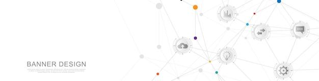 Tecnologia digital e conceito de comunicação com ícones planos