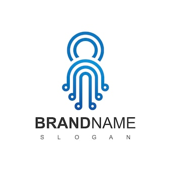 Tecnologia do logotipo da blue line octopus