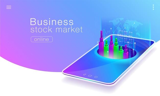 Tecnologia do negócio do mercado de ações global em telefones móveis.