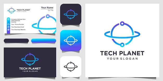 Tecnologia do planeta com estilo de arte de linha, logotipo e design de cartão de visita.