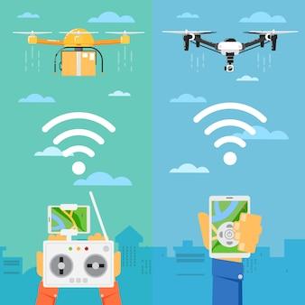 Tecnologia drone com robôs voadores