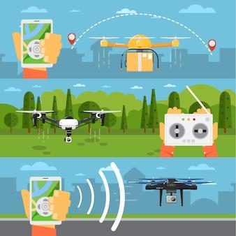 Tecnologia drone s com robôs voadores