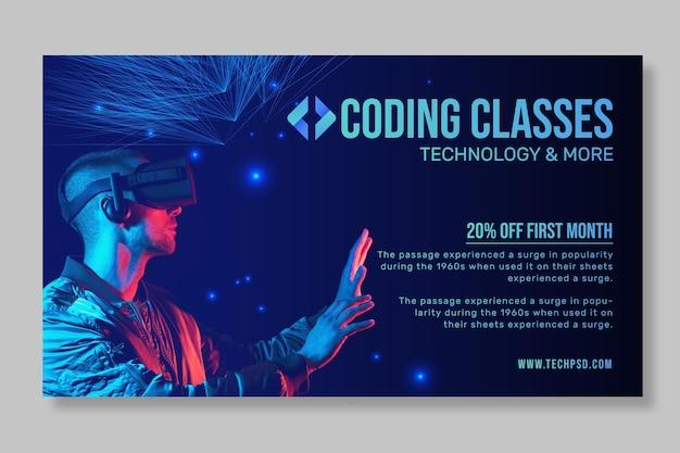 Tecnologia e banner horizontal futuro