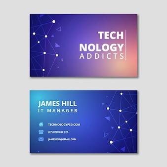Tecnologia e futuro cartão de visita horizontal