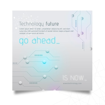 Tecnologia e futuro flyer quadrado