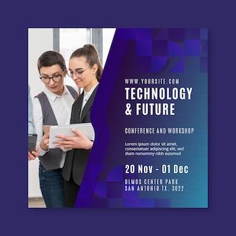 Tecnologia e futuro modelo de flyer quadrado