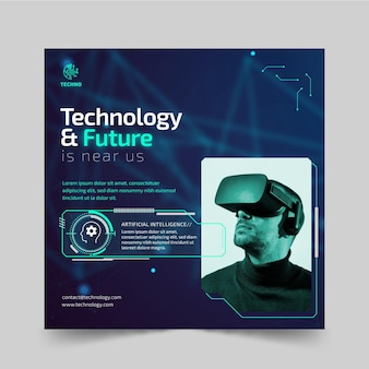 Tecnologia e futuro modelo de folheto quadrado