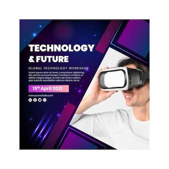 Tecnologia e futuro panfleto quadrado