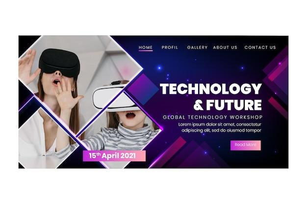 Tecnologia e modelo de página de destino futura