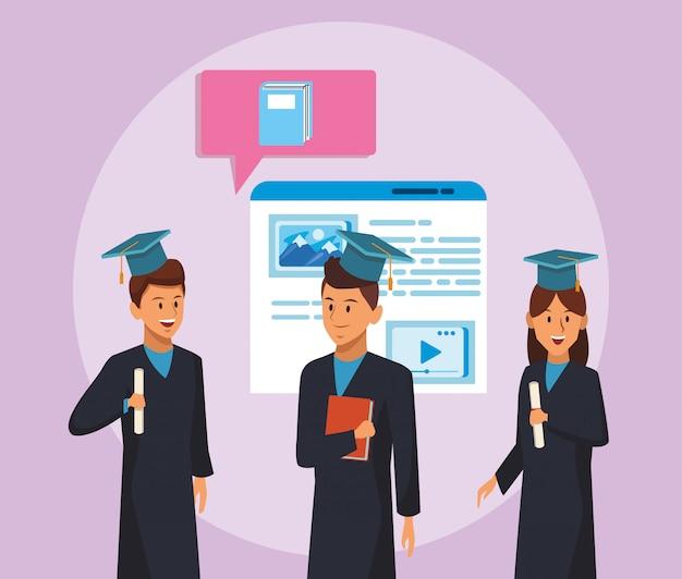 Tecnologia educacional on-line com alunos e página da web