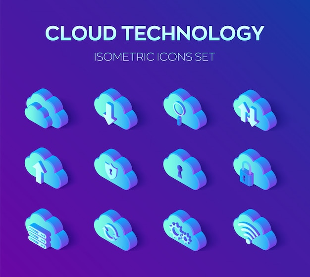 Tecnologia em nuvem. conjunto de ícones 3d isométrico.