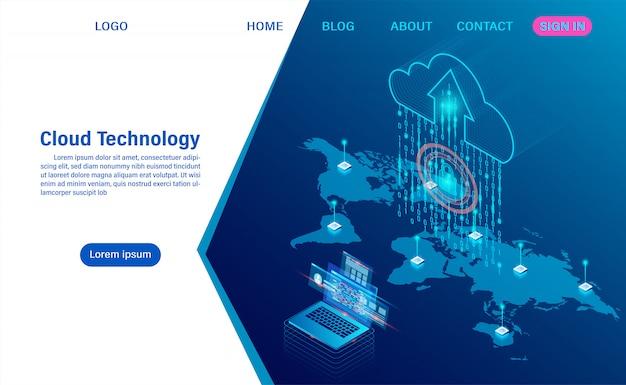 Tecnologia em nuvem moderna e redes. tecnologia de computação online. conceito de processamento de grande fluxo de dados, serviços de dados da internet
