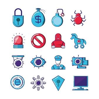 Tecnologia financeira definir ícones vector design ilustração