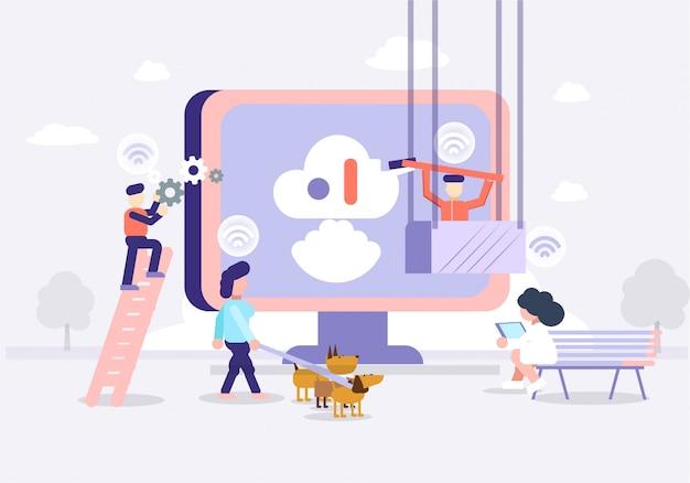 Tecnologia futura de ilustração e escritório inteligente de ciência