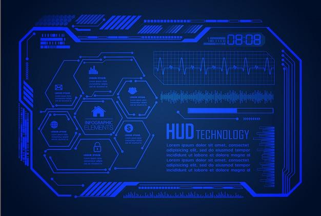 Tecnologia futura de placa de circuito binário, fundo azul do conceito de segurança cibernética hud,